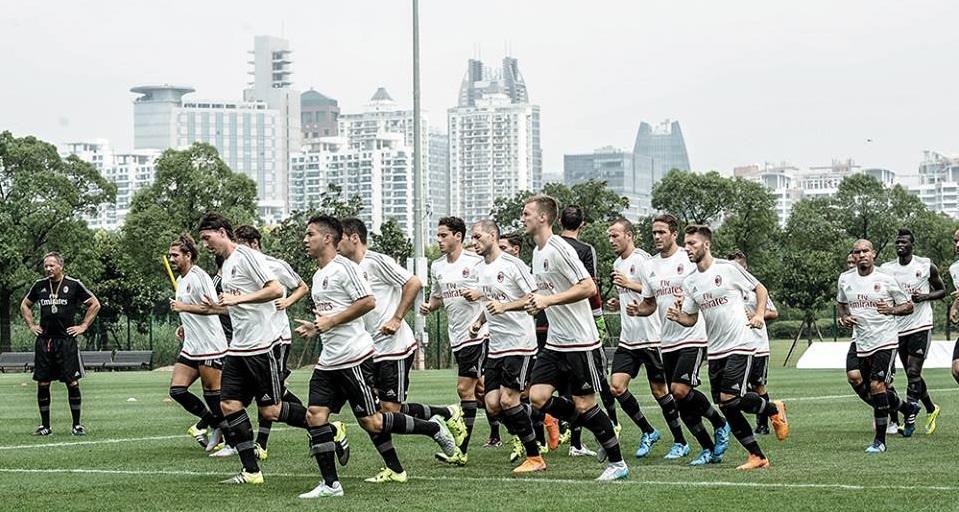 Allenamento Milan a Shanghai