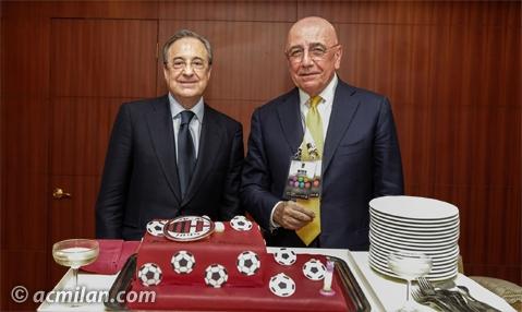 Florentino Perez regala a Galliani una torta per il compleanno