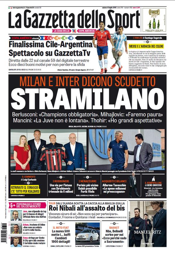 La Gazzetta dello Sport   4 luglio 2015