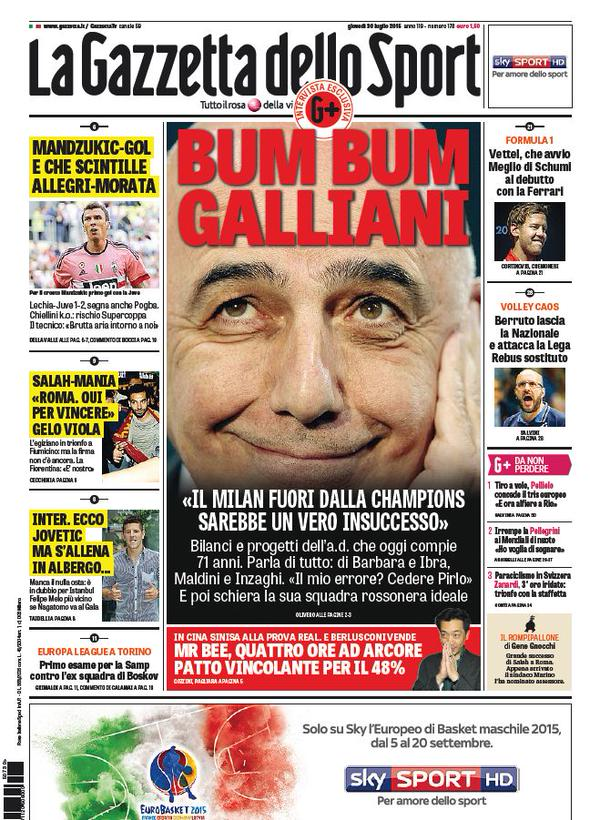 La Gazzetta dello Sport | 30 luglio 2015