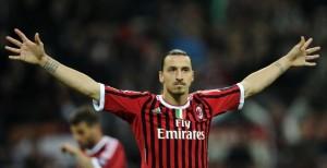 Zlatan Ibrahimovic con la maglia del Milan