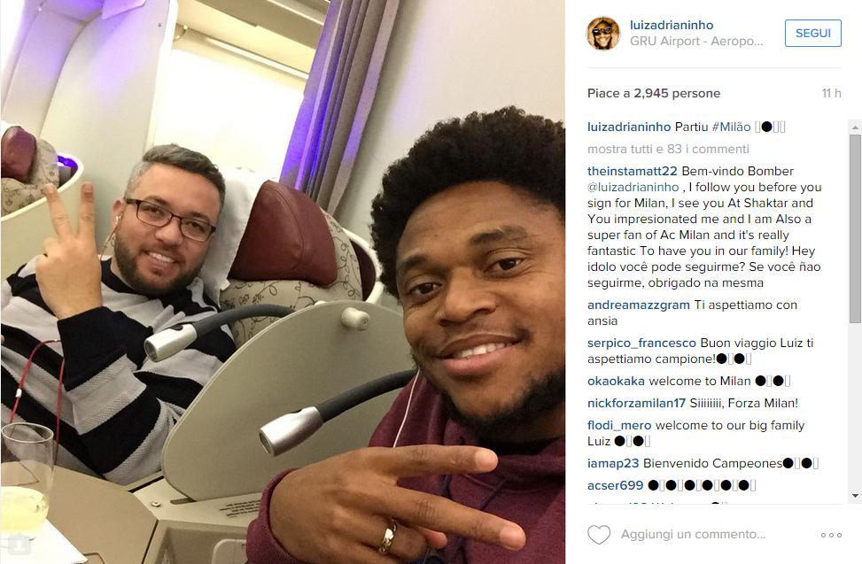 Luiz Adriano in volo per Milano Malpensa