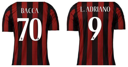 Numeri di maglia Bacca e Adriano