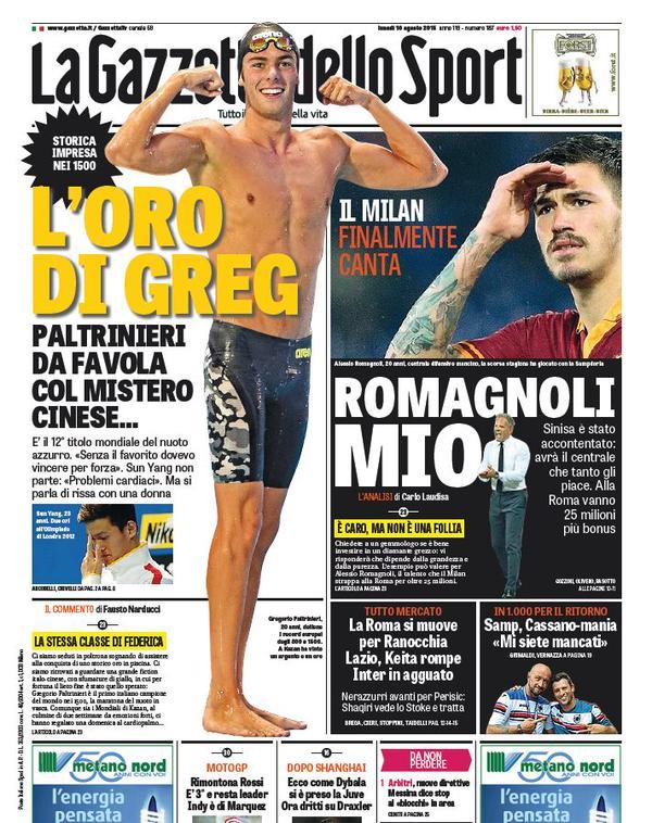 La Gazzetta dello Sport | 10 agosto 2015