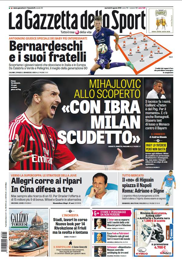 La Gazzetta dello Sport | 4 agosto 2015
