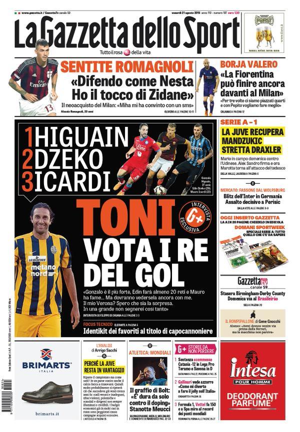 La Gazzetta dello Sport | 21 agosto 2015