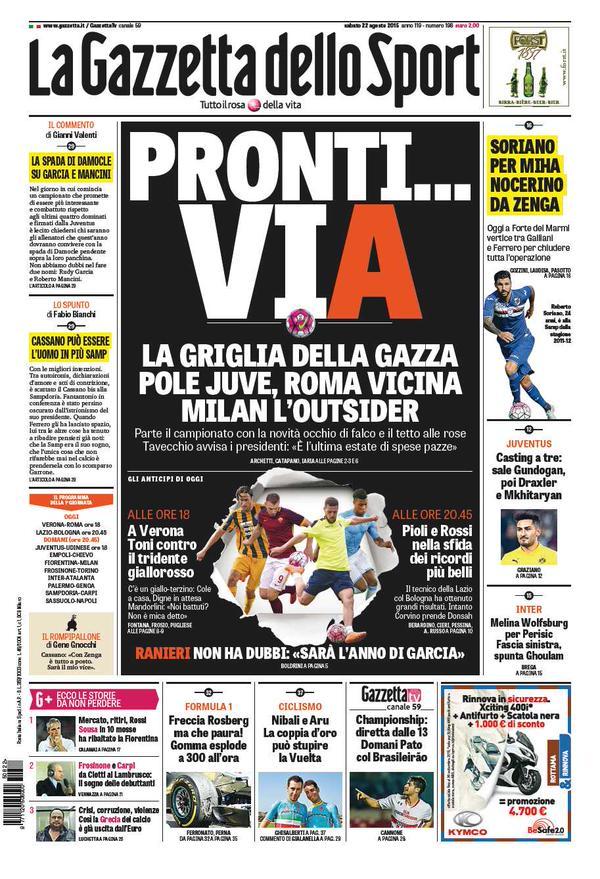 La Gazzetta dello Sport | 22 agosto 2015