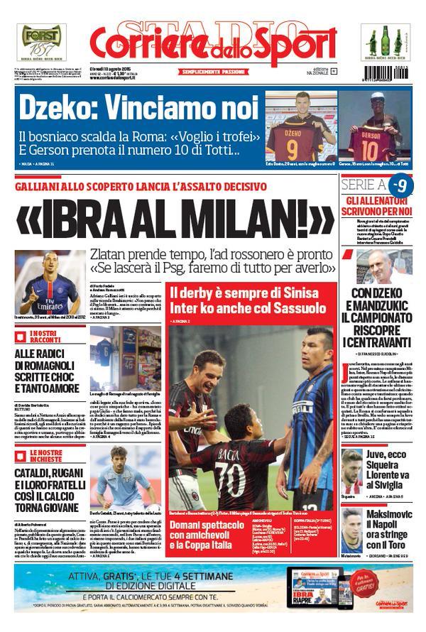 Corriere dello Sport | 13 agosto 2015