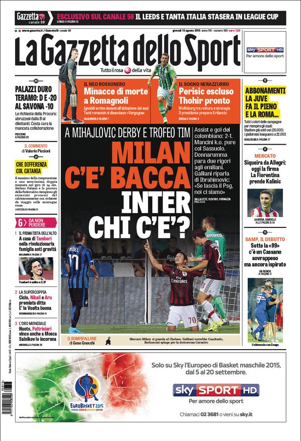 La Gazzetta dello Sport | 13 agosto 2015