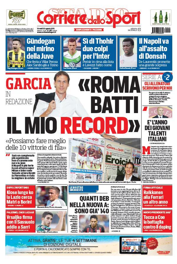 Corriere dello Sport | 20 agosto 2015