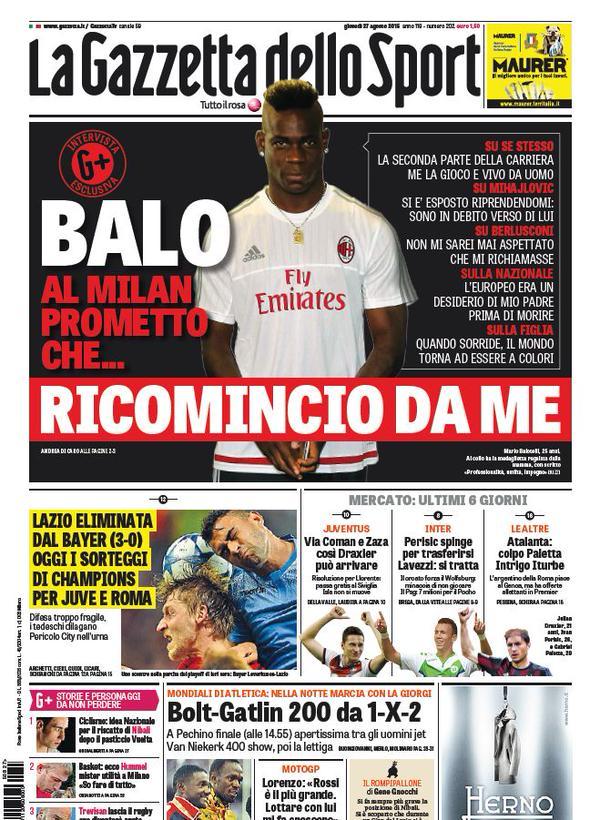 La Gazzetta dello Sport | 27 agosto 2015