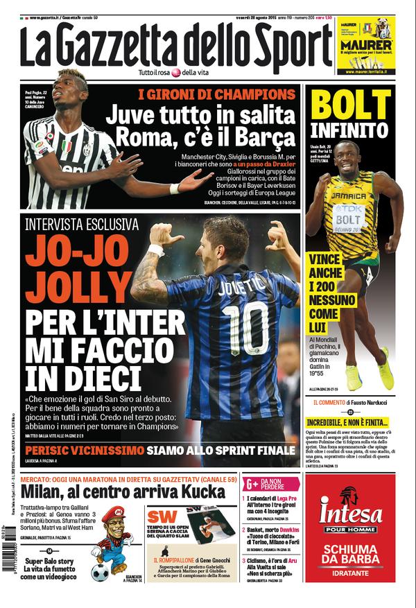 La Gazzetta dello Sport | 28 agosto 2015