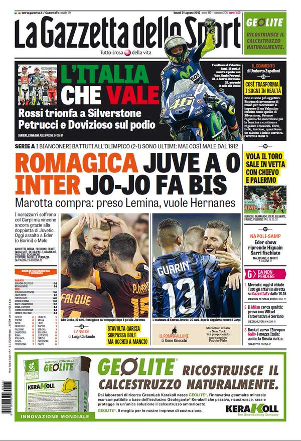 La Gazzetta dello Sport | 31 agosto 2015