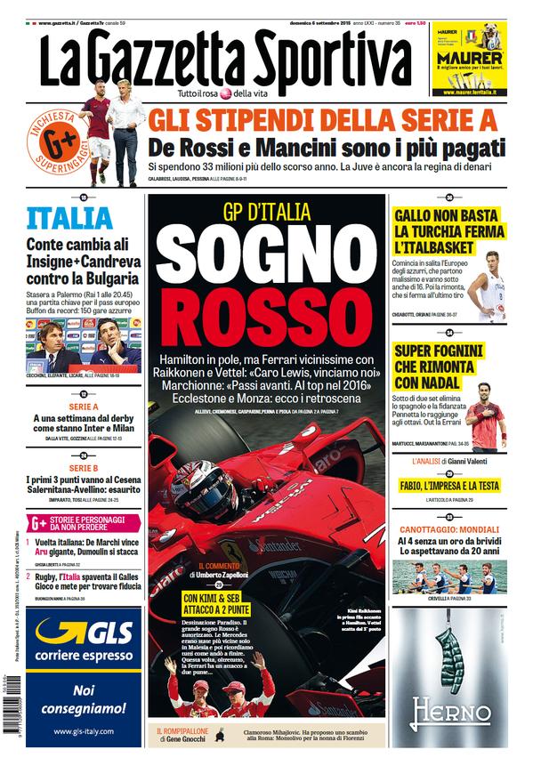 La Gazzetta dello Sport | 6 settembre 2015
