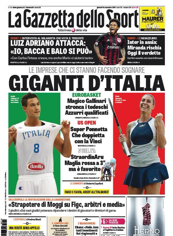 La Gazzetta dello Sport   10 settembre 2015